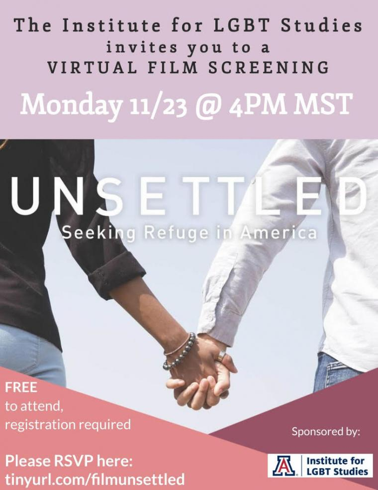 Flyer for Unsettled Film Screening about LGBTQ Refugees